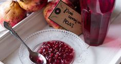 Pomegranate spoon sweet by Greek chef Akis Petretzikis. A lovely, aromatic, jewel colored spoon sweet that is perfect to serve with yogurt after a rich meal! Cooking Spoon, Sweet Life, Pomegranate, Yogurt, Cravings, Cake Recipes, Raspberry, Cooking Recipes, Favorite Recipes