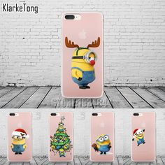 Minion Christmas New Year Phone Case Cover For iPhone 7 7Plus 6 6s 5 5s SE Cases Luxury Transparent Soft Silicone Coque Capa