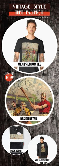 Men�s Premium T-Shirt  Vintage Travel Poster, Aged and Weathered - Baseball  Design inspired by vintage travel and advertisements posters from the late 19th century.  (Also available in mugs, shirts, duvet covers, acrylic , phone cases,   kid fashion, clo