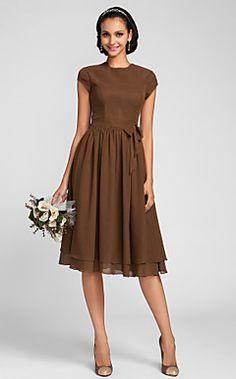 A-line+Jewel+Knee-length+Chiffon+Bridesmaid+Dress+(663662)+–+USD+$+97.99
