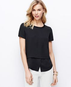 Soft yet structured, this crepe marvel is cleverly constructed with an untucked shirttail hem for a stylish layered effect. Crepe Top, Ann Taylor, Style Me, Short Sleeves, V Neck, Stylish, Clothes, Jewel, Black
