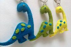 Plush Dinosaur Keychain Felt Brontosaurus Keychain by DusiCrafts