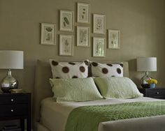 Like the idea of multiple pictures over the bed. Thinking black and white, various sizes would be nice.