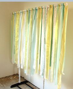 Ribbon Garland made from rolling clothes rack for back drop or use shower curtain rod!!!
