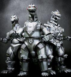 Mechagodzilla (1974/1975), Mechagodzilla II (1993), Mechagodzilla III (Kiryu) (2002/2003)