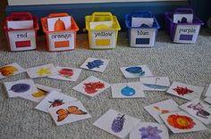 Actividad: les damos a los niños diferentes imágenes de objetos cotidianos de su vida y los tienen que clasificar según el color, metiendo la imagen en el cubito.