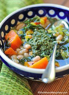 Cozy, savory Sweet Potato Soup with Walnut Pesto -- just leave out the cheese at the end for Phase 3.