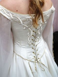 White Celtic Medieval Inspired Wedding Dress Astonishingly beautiful