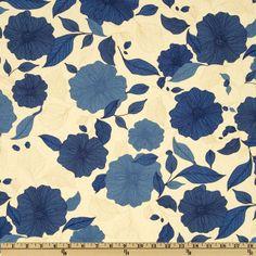 Essex Linen Blend La Femme Blossoms Blue