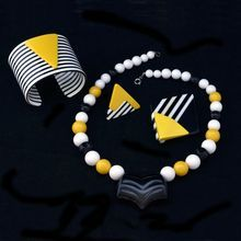 Modernist Black, Yellow And White Acrylic Parure Now With Double Cuffs, Earrings, Brooch and Necklace - $85 @Wendy Werley-Williams.rubylane.com/shop/villadibello