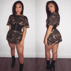 "1,849 Likes, 14 Comments - MESHKI (@meshkiboutique) on Instagram: ""Thursday look: Slay with 0 effort? @jasmin.elago nailed it ✔️ JAYLA Camo Tee X EVE Suede Corset 