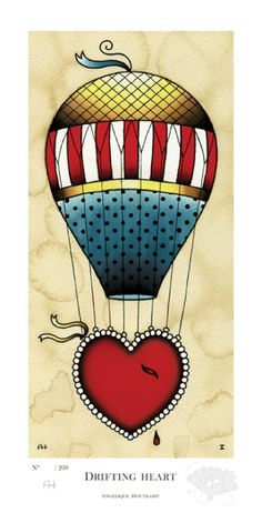 Drifting Heart by Angelique Houtkamp (2012) ~ Tattoo Art  Hot Air Balloon with Heart