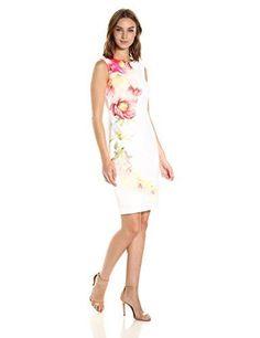 Calvin Klein Women¡¯s Sleeveless Sheath Dress with Floral Pattern