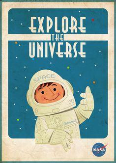 Vintage inspired poster perfect for your futuristic Aquarian child.  #aquarius