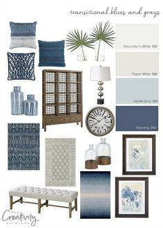 Layering transitional blues and grays in a home. Bassett Home Furniture.decor Layering transitional blues and grays in a home. Bassett Home Furniture. Coastal Living Rooms, Living Room Grey, Home Living Room, Living Room Designs, Navy Blue And Grey Living Room, Blue Grey, Apartment Living, White And Navy Bedding, Cream Sofa Living Room Color Schemes