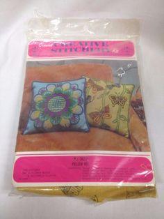 NEW Crewel Creative Stitchery Kit No. 342B Pillow Kit Butterfly Flutter  #CreativeStitchery