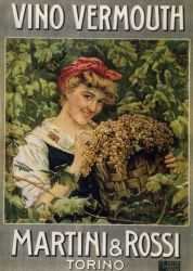 Vintage Italian Poster  for Martini & Rossi vino vermouth
