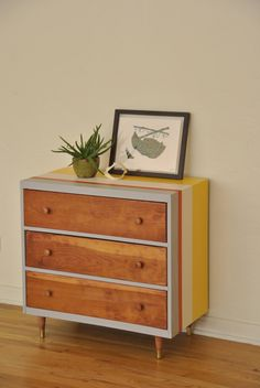 Striped Mid Century 3-Drawer Dresser. $295.00, via Etsy.