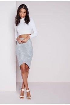 Ribbed Curve Hem Midi Skirt Grey