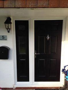 6 Panel Composite Front Door in Black with a Composite Door Side Panel