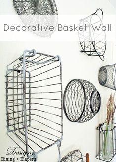 vintage basket wall display