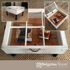 Old window frames can be given new light with this wonderful idea of creating a little display case coffee table. A simple wooden box on legs with the hinged window top transforms into an interesting and unique piece of furniture where you can store magazines and books or display your cherished possessions.