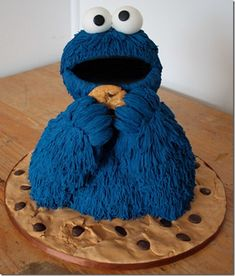 Sesame Street 3 D Cookie Monster Cake Unique Cakes, Creative Cakes, Fancy Cakes, Cute Cakes, Big Cakes, Beautiful Cakes, Amazing Cakes, Cake Cookies, Cupcake Cakes