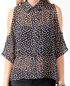 Cutout Polka Dot Shirt | FOREVER21 - 2017307090