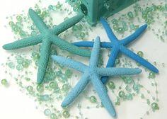 Beach Decor  3 Starfish  Painted Aqua by SeashellCollection