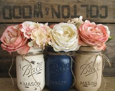 navy blue baby shower decorations | ... , Baby Shower Decorations, Navy Blue, Tan And Creme Mason Jars