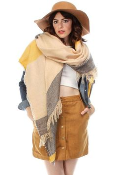 Frayed Color Block Stripes Blanket Scarf - Beige/Yellow, Brown/Gray, or Navy/Red Fall Scarves, Oversized Scarf, Yellow And Brown, Blanket Scarf, Stripes, Beige, Red, Color, Clothes