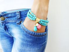 Turquoise ethnic bracelet desiged by natural beads by Handemadeit, $23.50