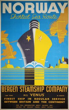 Norway by Bergen Steamship Company by Harry Hudson Rodmell (1896-1984)