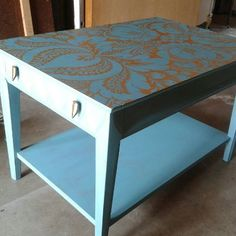 Gorgeous distressed tiffany blue side table with matching gold damask printed wallpaper top from Re-New Furniture Finds and Re-Finishing
