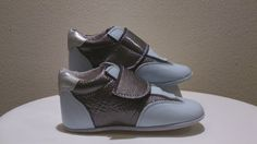 Light blue leather and bronze leather baby shoes, for baby boys, baby fashion. size 19 till 22. Shoezzz by Skeeter