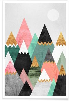 Pretty Mountains en Affiche premium par Elisabeth Fredriksson | JUNIQE