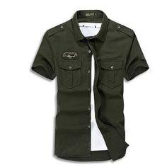 4d6612155 Cargo Short Sleeve Military Button Up. Mens Shirts OnlineLong ...