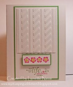 handmade card from My Stamping Addiction ... embossing folder texture as main panel/element ... crisp white with green mats and pink flowers ... like it!