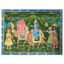 INDIAN MUGAL EMPEROR MINIATURE HAND PAINTED ART ON SILK HOME DECOR ROYAL PAINTING