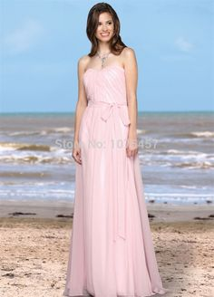 New Arrival Long Elegant Blush Bridesmaid Dress with Sashes 2015 Sweetheart Dress For Party Chiffon Vestido De Festa Longo MB601
