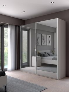John Lewis & Partners Elstra Wardrobe with Mirrored Sliding Doors, Mirror/Alpine White Mirrored Wardrobe Doors, Mirror Closet Doors, Sliding Wardrobe Doors, Wardrobe With Mirror, Wardrobe Door Designs, Wardrobe Design Bedroom, Bedroom Door Design, Wardrobe Ideas, Bedroom Cupboard Designs