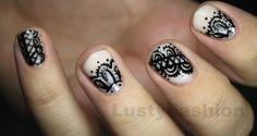 lace acrylic nail art