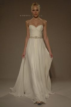 Bridal Gowns: Romona Keveza Collection Sheath Wedding Dress with Sweetheart Neckline and Natural Waist Waistline