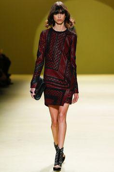 J. Mendel Fall 2014 RTW. #JMendel #Fall2014 #NYFW geometric optical illusion detailed long sleeve leather shift. 60. red, black, and white.