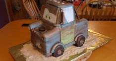 Wow! Am I excited with how this turned out!  I was sent several Tow Mater pictures to consider while making this cake for Megan and Gavin...