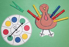 Kleuren: turkey clothespin game and much more on this site