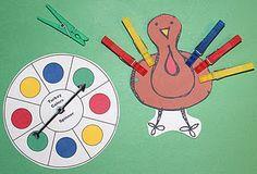 Kleuren: turkey clothespin game and much more on this site   aanpassen naar pauw