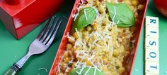Risotto with tomatoes, chickpeas and basil