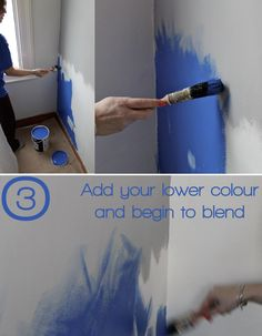 DIY Ombre wall project - Step Three: Adding your second colour. See the full how-to on Stylist's Own. Project by Joanna Thornhill