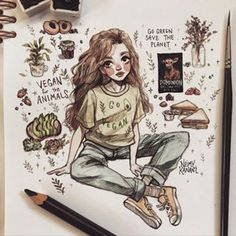 For those who needs help transitioning to a vegan lifestyle, I highly recommend watching the Dominion documentary film 🐮🎞… Pencil Art Drawings, Art Drawings Sketches, Cute Drawings, Arte Indie, Arte Sketchbook, Cute Art Styles, Illustrators On Instagram, Aesthetic Art, Aesthetic Anime